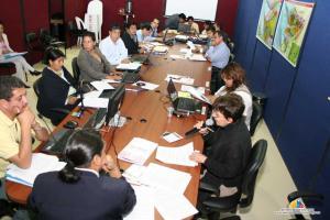 """Asambleístas de la """"Mesa 2: Organización, Participación Social y Ciudadana, y Sistemas de Representación"""", debatiendo sobre la Función Electoral"""