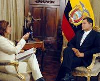El Presidente Rafael Correa, durante la reciente entrevista en que parece apoyar a las FARC