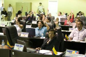El Pleno de la Asamblea Nacional Constituyente del Ecuador en plena votación