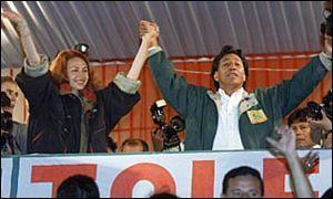 Alejandro Toledo pretendiendo liderar la oposición contra el régimen de Fujimori. Fuente: BBC Mundo