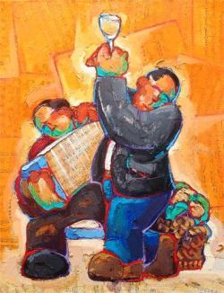"""""""El Brindis"""", óleo y collage sobre lienzo del pintor español Juan M. Valcárcel. Fuente: www.jvalcarcel.com/2006/Paginas/taller2006.htm"""