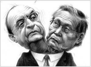 """Extraordinaria caricatura de Alonso Núñez sobre los """"siameses"""" Fujimori y Montesinos"""