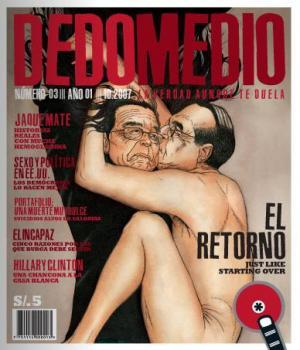 Portada de la revista Dedomedio dedicada a la pareja Fujimori-Montesinos. Fuente revista Dedomedio, Año 1, N.º 3, octubre 2007