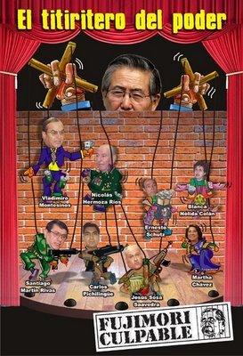 Afiche sobre Fujimori como el titiritero del poder, es decir, como el hombre de atrás