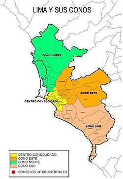 Los conos de Lima Metropolitana, base para pensar en subdistritos electorales. Fuente: http://palestra.pucp.edu.pe/index.php?id=287