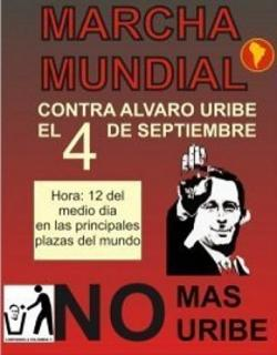 """Afiche de la campaña """"No más Uribe"""""""