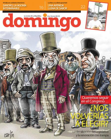 Portada de DOMINGO del diario La república. 3 de enero de 2010