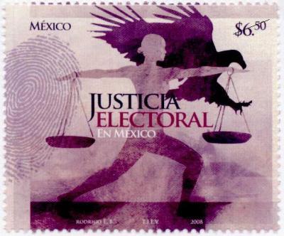 Sello postal mexicano referido a la justicia electoral, 2008