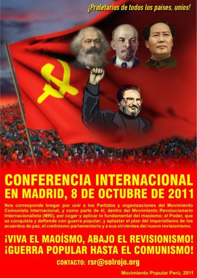 Afiche de Conferencia de la organización senderista en España (2011
