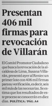 Fuente: El Comercio, 05 de abril de 2012, portada.