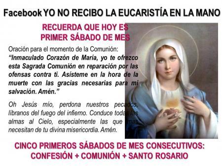 krouillong karla rouillon gallangos no recibas la eucaristia en la mano comunion en la mano primer sabado mes devocion inmaculado corazon maria