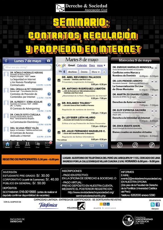 """Seminario """"Contratos, Regulación y Propiedad en Internet"""": Clic para agrandar imagen"""