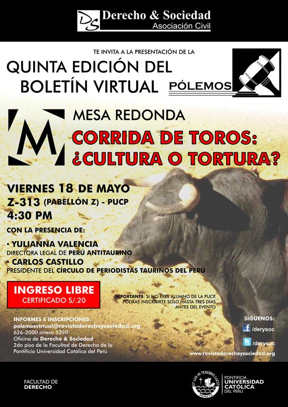 Mesa Redonda: Corrida de Toros ¿Cultura o Tortura? - Clic para agrandar imagen