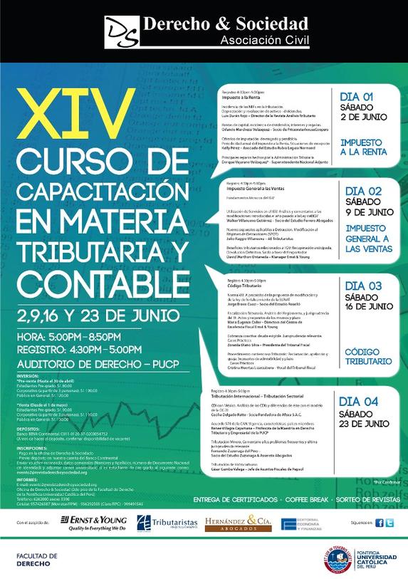 XIV Curso de Capacitación en Materia Tributaria y Contable - Clic para agrandar imagen