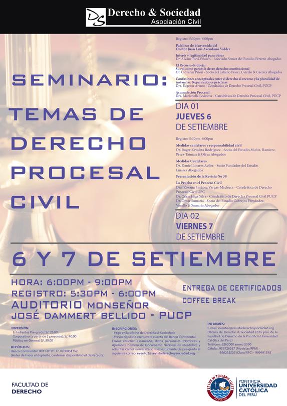 Seminario Temas de Derecho Procesal Civil: Clic para agrandar imagen