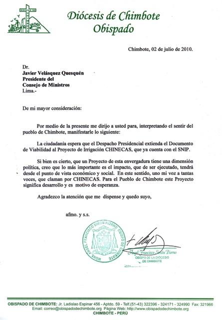 Carta del obispo