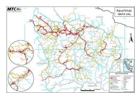 Mapa vial de Apurimac