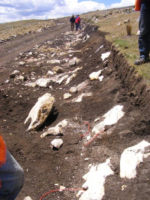 Colocación de cargas explosivas en el Qhapaq Ñan