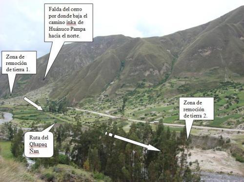 Destrucción del Qhapaq Ñan al norte de Huánuco Pampa