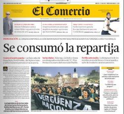Portada del diario El Comercio al día siguiente de la elección del 17 de julio del 2013.