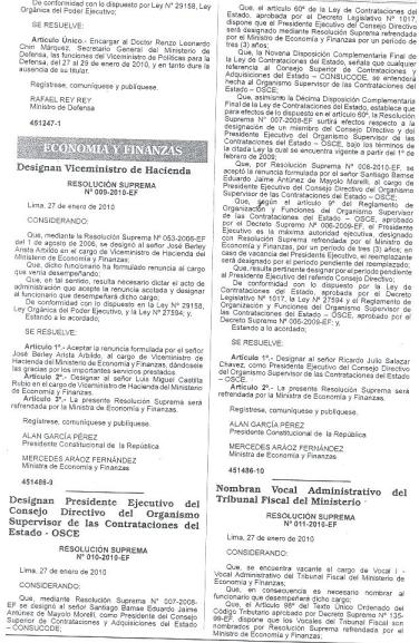Designación de Presidente de OSCE