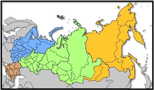 Distritos militares rusos desde 2010