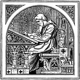 A bearded man sits writing at a mediæval writing desk