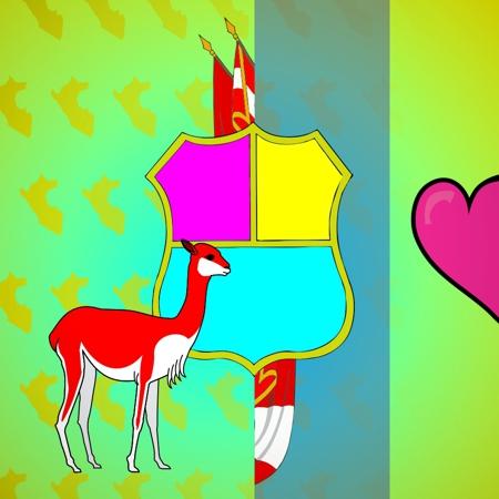 fiestas patrias peru 28 julio vicuña simbolos patrios escudo nacional himno ilustracion diseño grafico pucp beto serquen artista catolica