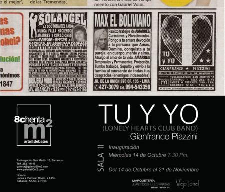 EXPOSICION DE GIANFRANCO PIAZZINI TU Y YO EN 80 M2 BARRANCO