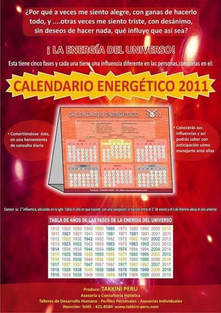 CALENDARIO ENERGETICO 2011 TAKKINI PERU