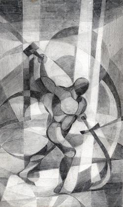 """¿Qué diría Isaías?"". Grafito sobre cartulina canson, 1998."