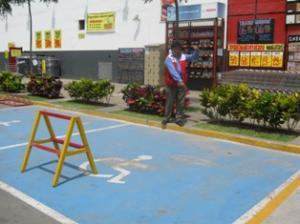 En cuanto a los estacionamientos reservados para los vehículos que transportan personas con discapacidad se observó el incumplimiento de la norma al no haber las señalizaciones correspondientes como la falta del símbolo universal de discapacidad ni los letreros correspondientes.