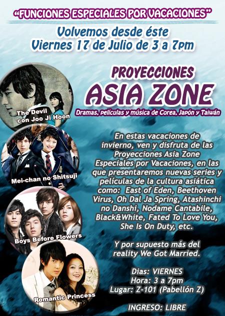Proyecciones Asia Zone Especiales por Vacaciones
