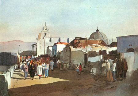Acuarela de Mauro Castillo - Pachacutec Arequipa