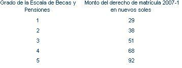 Costo matricula PUCP 2007