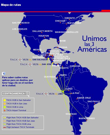 Ruta de vuelos de Taca desde Lima fuente:http://www.taca.com/esp/oth/oabo/oaboroumap.asp#