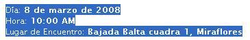 lugar-fecha y hora Ciclonudista 2008